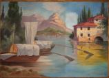 Gemälde und Rahmen - Zwischenzustand, halb gereinigt
