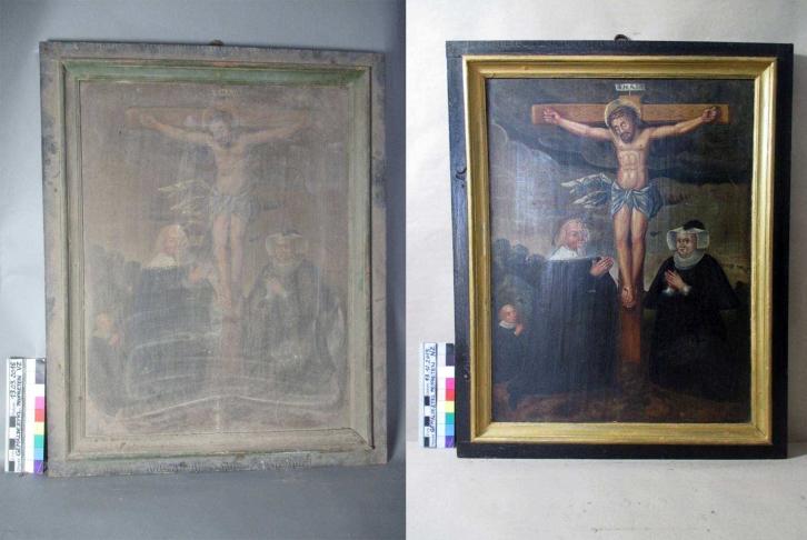11. Kreuzigungsszene mit Stiftern - Vorzustand - Endzustand Restaurierung