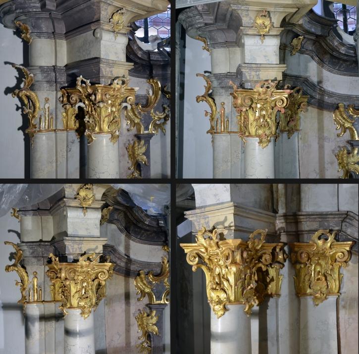 Amorbach - Ehemalige Abteikirche - Nebenaltar A9 Nordwand - Kittung - Bolus - Retusche