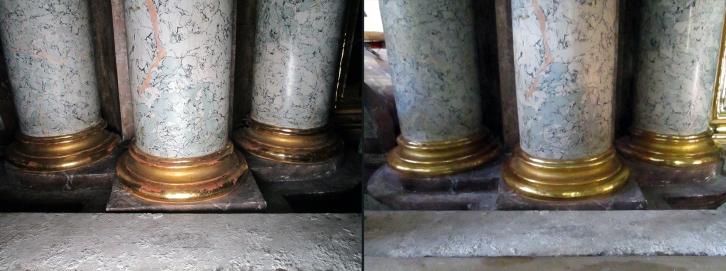 Ensdorf - Klosterkirche - Hauptaltar - Säulen Basen - Vergoldung Restaurierung