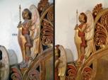 Lützen - Gustav-Adolf-Gedenkstätte - Altar Kapelle - linker Engel Detail- Vorzustand und Endzustand Restaurierung