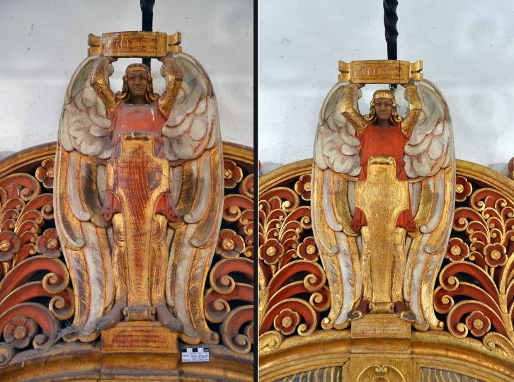 Lützen - Gustav-Adolf-Gedenkstätte - Altar Kapelle - mittlerer Engel Detail- Vorzustand und Endzustand Restaurierung